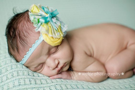 Prim & Proper aqua yellow and ivory ruffle headband by birdie baby boutique #Christinawolfephotography