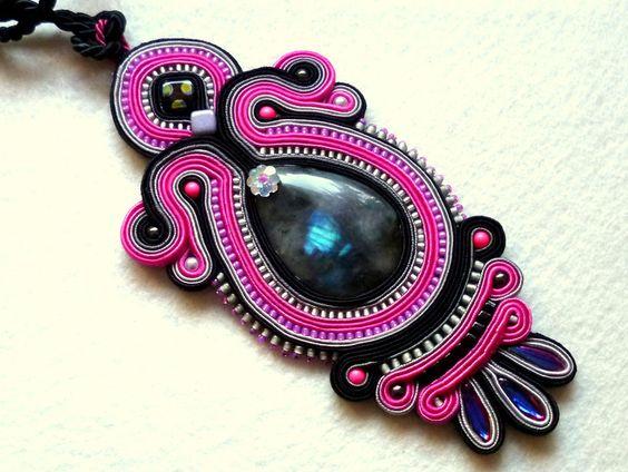 Stoffanhänger - Geflecht Anhänger Schwarz+Grau+Rosa Glamour! - ein Designerstück von KC-Soutache bei DaWanda