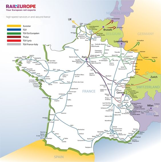 Map of TGV Express Train Routes in France – Train Travel France Map