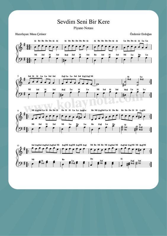 Sevdim Seni Bir Kere Piyano Nota Piyano Notalara Dokulmus Muzik Ukulele