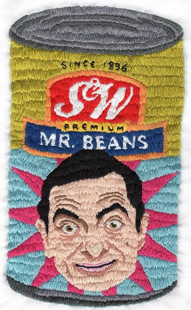 Stitched objects: Mr. Beans. Embroidered. Logo, typography