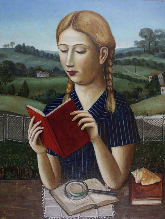 Portrait of a Girl in a Striped Dress with a Red Book  2013   -  Rick Beerhorst