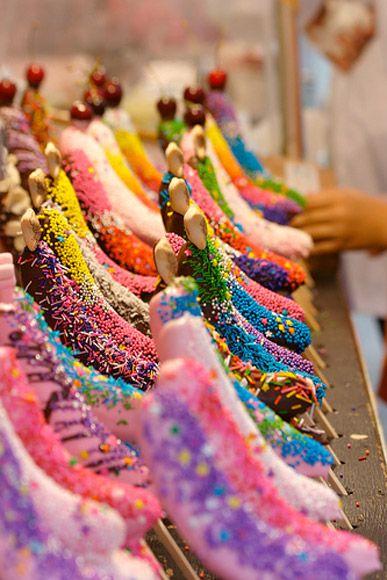 Frozen Banana Decorating Inspiration: Coloured Chocolate & Sprinkles & Cherries & Hello Panda Candy