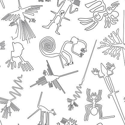 Vector Seamless Pattern Nazca Lines Creatures From Nazca Desert In Lineas De Nazca Dibujo Lineas De Nazca Dibujos Incas