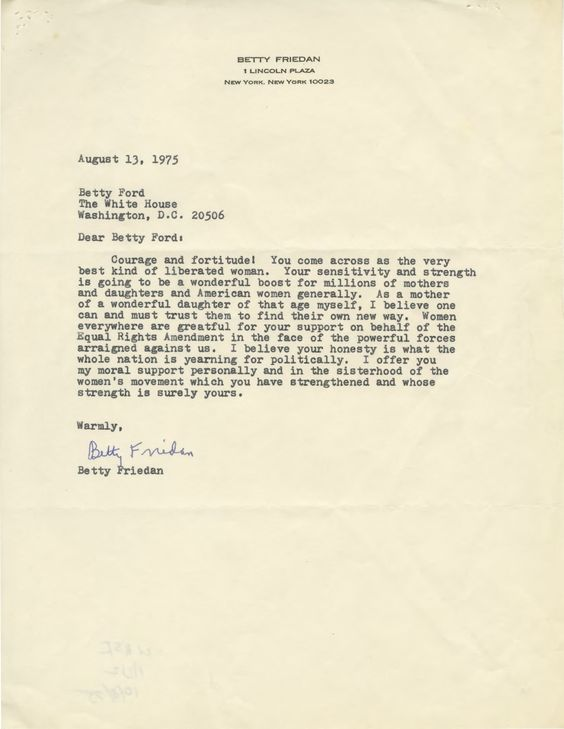 Betty Friedanu0027s letter to Betty Ford, after her candid interview - nixon resignation letter