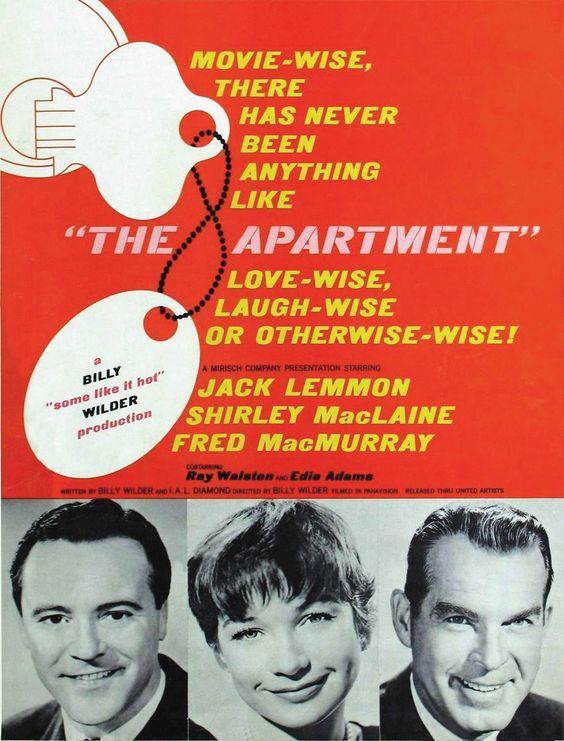The Apartment (1960), directed by Billy Wilder, starring Jack Lemmon, Shirley MacLaine, and Fred MacMurray