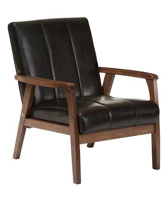 Look at this #zulilyfind! Black Faux Leather Nikko Lounge Chair by Baxton Studio #zulilyfinds