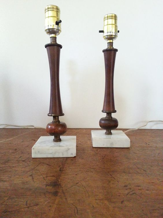 danish modern lamps retro mid century modern wood and marble vintage pair table lamps. Black Bedroom Furniture Sets. Home Design Ideas