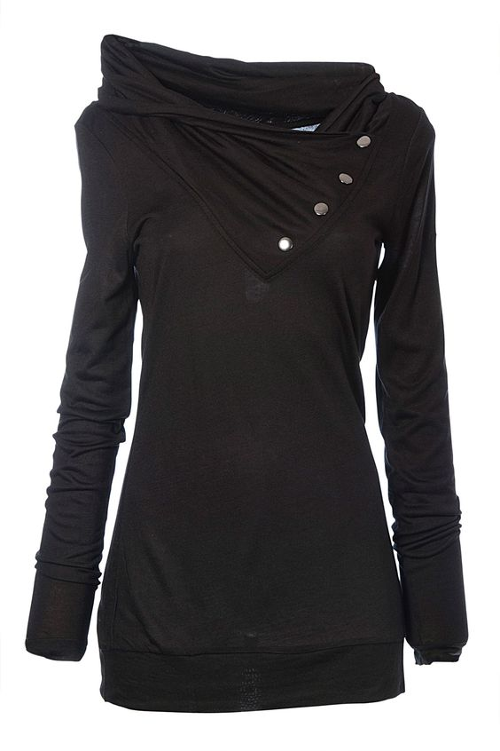 I need this for the fall!: Black Top, Dream Closet, Cowl Neck Sweatshirt, Fall Winter