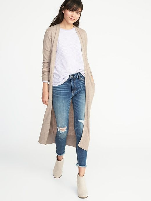beige open front vest duster outfits