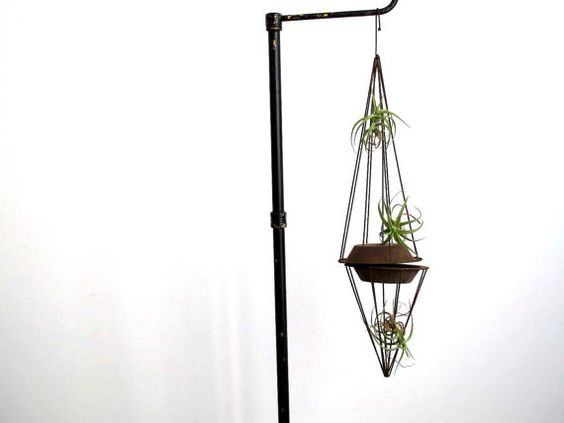 reworked salvage metal plant stand // air plant holder