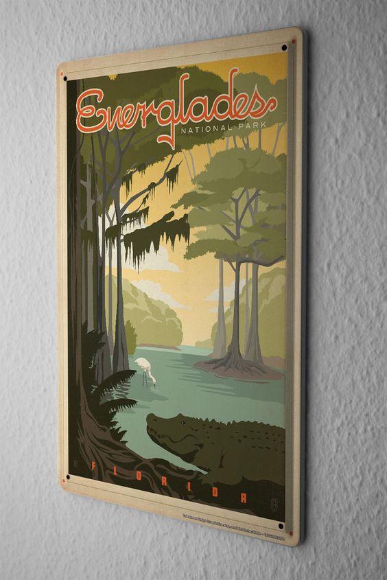 Tin Sign World Tour  Everglades Florida Metal Plate