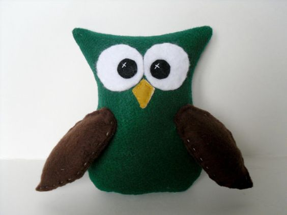 Cute green Owl with Brown wings by SweetKountryStitchin on Etsy, $8.50