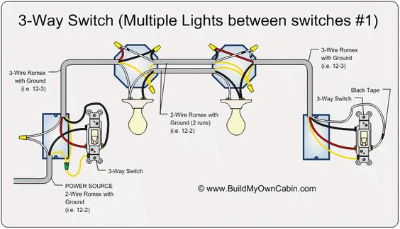 3-way switch (multiple lights between switches ... wiring multi schematics with switch at end #12