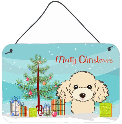 Christmas Tree and Buff Poodle Wall or Door Hanging Prints BB1630DS812