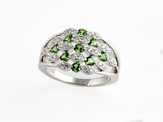 Gem of a Gift Idea #14: Beautiful Brilliant Green Tsavarite Garnet and Diamond Ring set in 14k White Gold. $2650. (Seven Fields Location).
