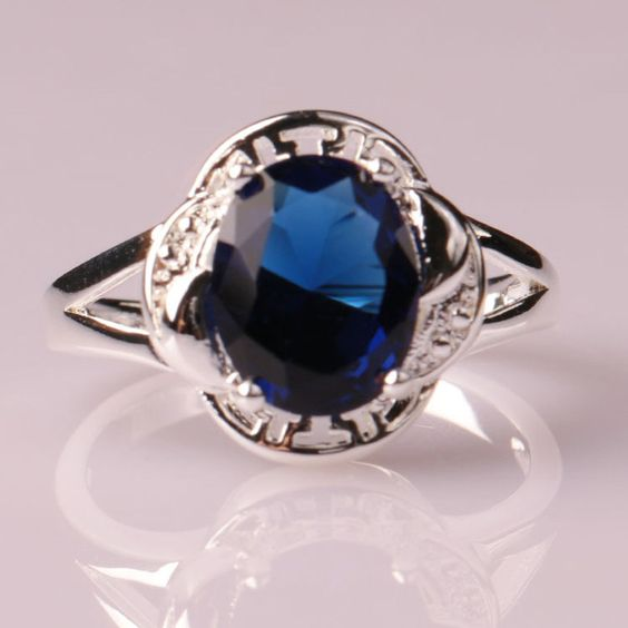 Blue 9 1 x High Quality Cubic Zircon Silver Plated Alloy CZ Cut Sapphire Wedding Fashion Ring Size 6-9 Lady Jewelry