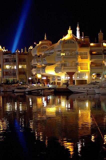 Night marina lights, Malaga, Andalusia, Spain.