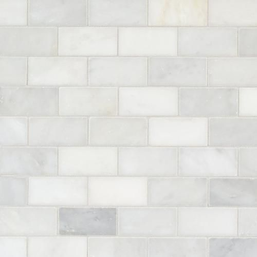 Carrara White Brick Marble Mosaic Floor Decor White Brick Carrera Marble Backsplash Marble Mosaic Floor