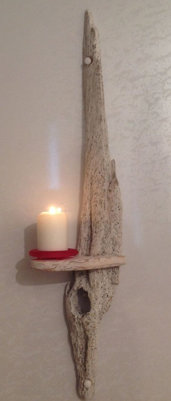 Clever driftwood sconce driftwood projects pinterest for Candle holder crafts