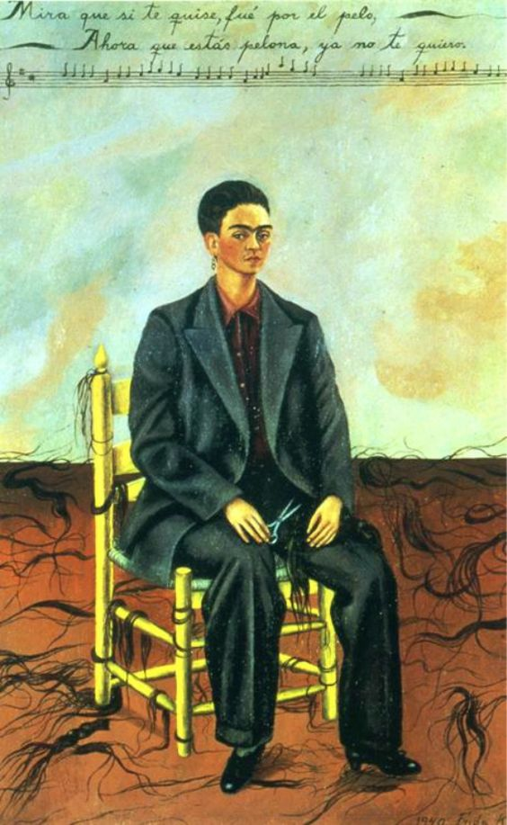 Self Portrait with Cropped Hair ~Frida Kahlo