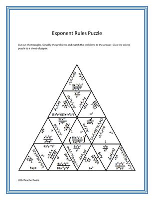 Exponent rules review worksheet answer key