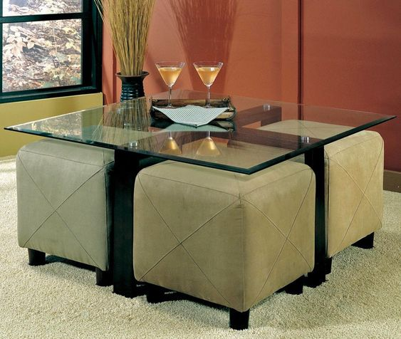 My Favorite So Far Glass Coffee Table With Ottomans Underneath