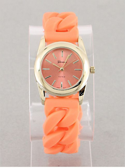 Perfect Coral Watch from P.S. I Love You More. Shop online at: psiloveyoumore.storenvy.com