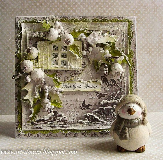 Dorota_mk: Cards dusted with snow - MAJA A GIFT FOR YOU