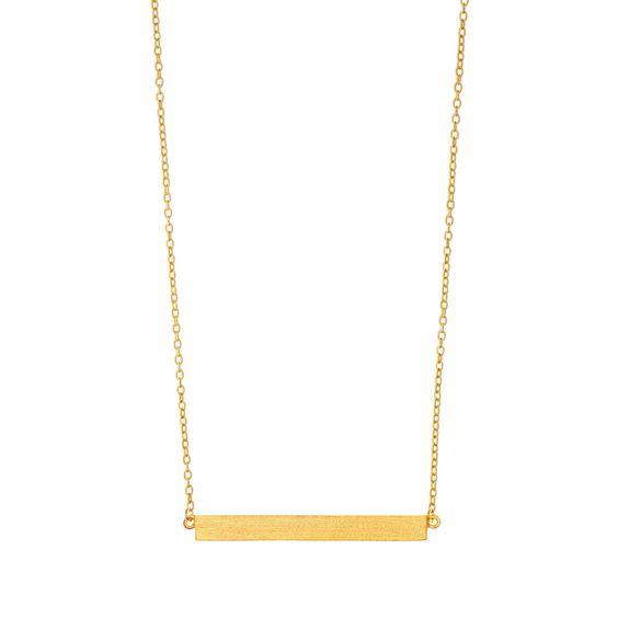 Halskette Bar matt, Gelbgod vergoldet - Leaf - Schmuck & Accessoires