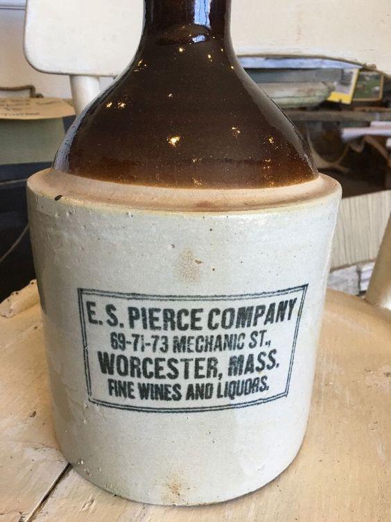 Vintage E s Pierce Company Worcester Mass Liquor Crock Jug | eBay