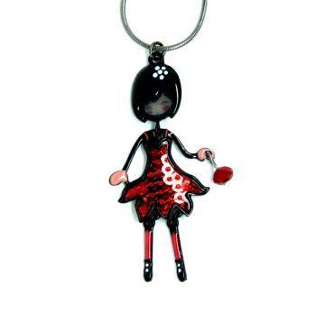 Collier mini Bella rouge Figurine articulée sur collier 42cm+5cm rallonge 9.95€
