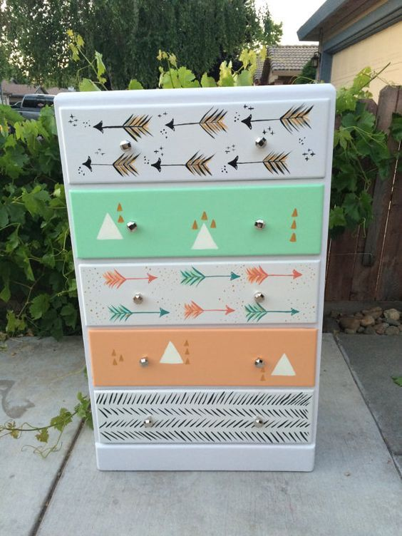 Hand-painted Tribal Teen Dresser by BluejaysNest on Etsy: