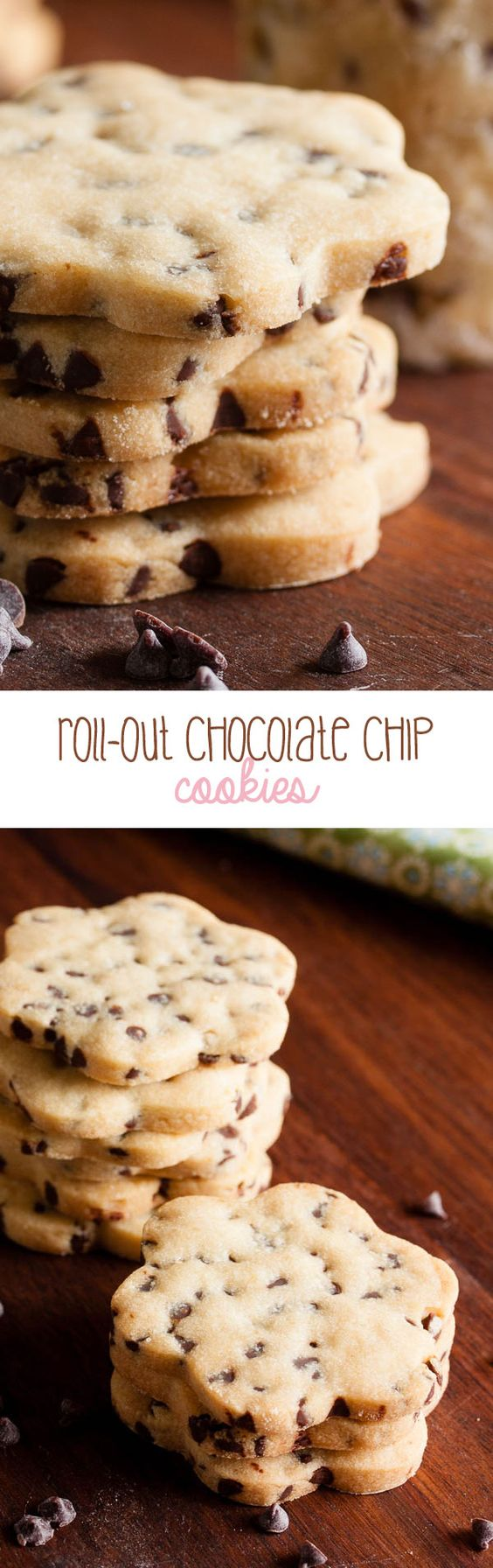 These roll-out chocolate chip cookies are soft and slightly crumbly, like a…