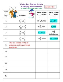 math worksheet : multiplying mixed numbers  fractions winter coloring activity  : Multiplying Mixed Fractions Worksheet