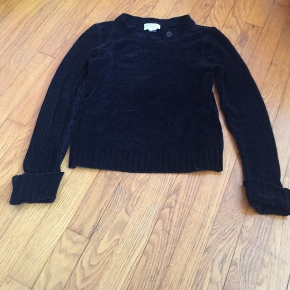 Black talbots sweater Velvety material very soft and warm sweater with button detail at the neck, black and from talbots Talbots Sweaters Crew & Scoop Necks