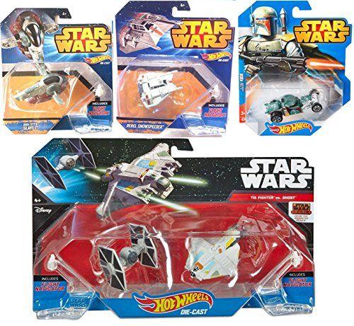 Hot Wheels StarShip Star Wars Spaceship Car Set  Tie Fighter  Ghost Slave I  Boba Fett Car Rebel Snowspeeder 4 ships * Click on the image for additional details.