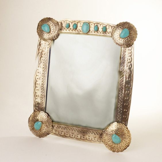 Stamped Silver Concho Mirror with Turquoise - Home Décor - National Cowboy Museum