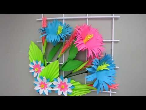Diy Simple Home Decor Wall Decoration Hanging Flower Paper Craft Ideas Youtube Paper Crafts Diy Wall Decor Paper Crafts For Kids