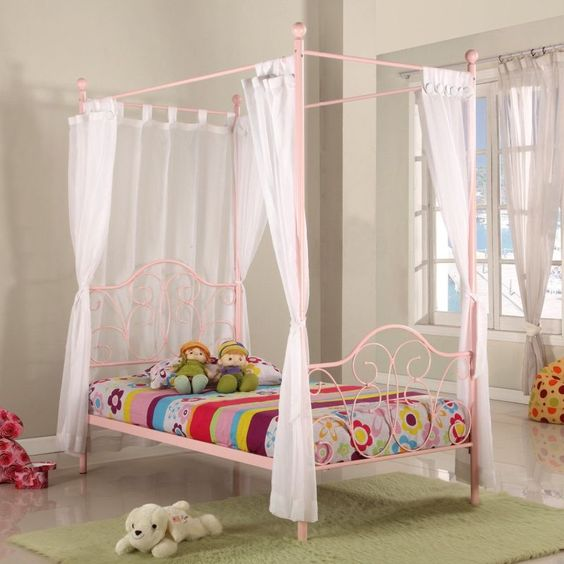 Fantasia Kid's Four Poster Single Bed Frame in Pink | Buy Kids Single Beds
