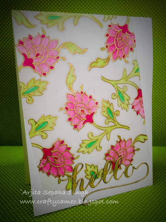 Altenew gold embossed card