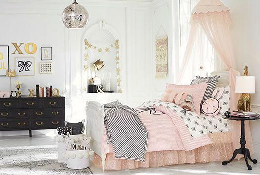 The Perfect Little Girls Room Decor Inspiration Of Pink White And Black With Hints Of Gold And Silver Pink Bedroom Decor White Girls Bedroom Girl Room