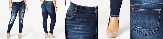 Rocks & Indigo Plus Size Ripped Skinny Jeans, Dark Blue Wash