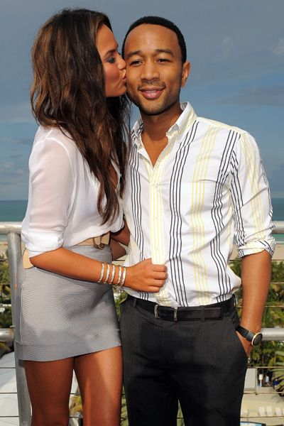 John Legend and Chrissy Teigen snuggle in Miami