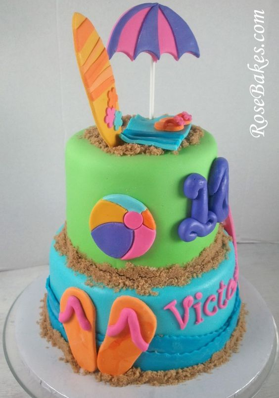 Beach Birthday Cake with Flip-Flops & Surf Boards + Cake Pops