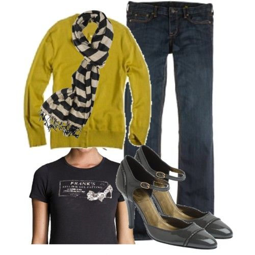 mustard cardi with graphic tee