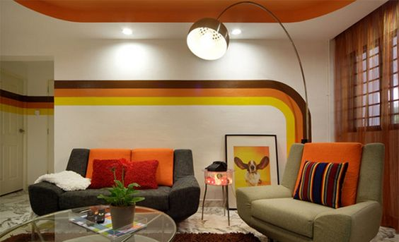 Create a Modern Living Room with Striped Walls | Amazing Interior Design