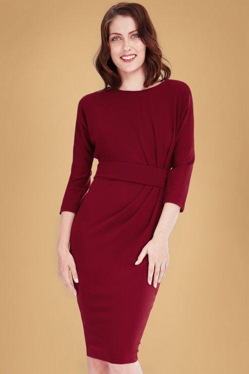 Vintage Chic Dark Red Dress 100 20 19649 20160926 0014W