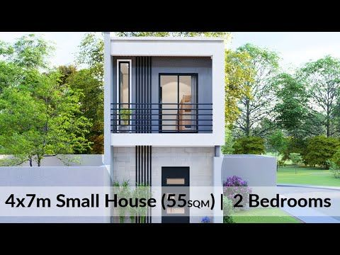 4x7 Meters Two Storey Small House Design 2 Bedrooms Youtube In 2021 Small House Design Exterior Small House Design Small House Design Plans