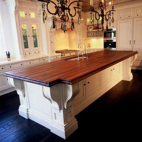 Kitchen Countertops Wood And Butcher Block: Walnut-Butcher-Block-Island-Top-With-Undermount-Sink